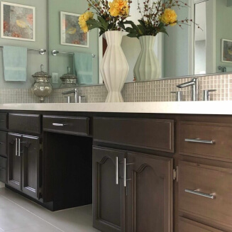 Elegant bathroom showing dining table showing Sacramento interior design and home staging