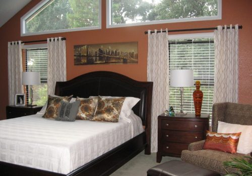 stylish bedroom showing Sacramento interior design and home staging